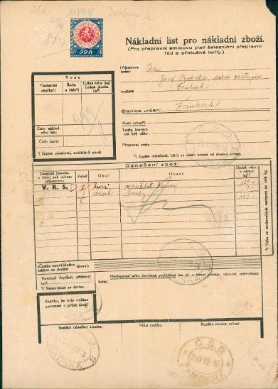 2A623 Nákladní list Josef Bohata Sadská - Žamberk, tištěný kolek