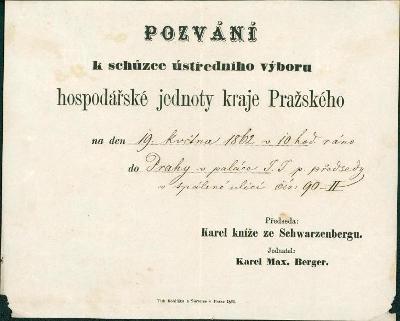 2A630 Pozvánka ÚV hospod. jednota Plzeň - Karel kníže Schwarzenberg RR