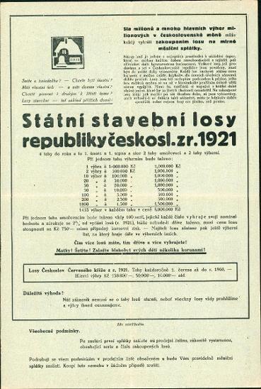 2A781 Urbánek a spol. Praha- Státní stavební losy republiky Čsl. 1921