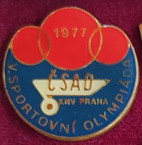 P97 Odznak ČSAD KNV Praha - olympiáda, 1977 - mimořádný, průměr 24mm
