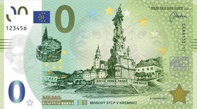 Memoeuro suvenírová bankovka 0 Euro Kremnica 2021 - Morový stĺp