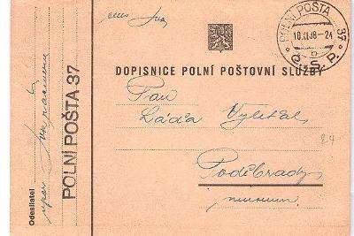 Polní pošta ČSR 1938