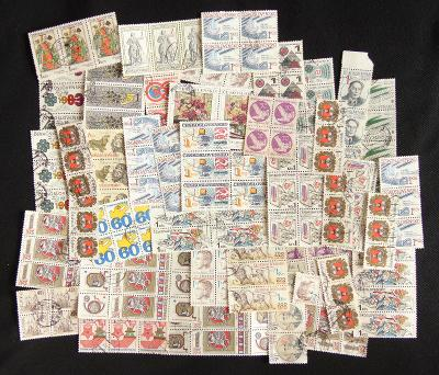 Zajímavá sbírka známek, čtyřbloky, pásky a další kombinace!