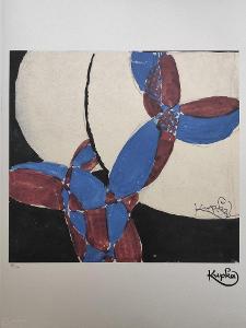 František Kupka - DVOUBAREVNÁ FUGA (AMORFA)  - Certifikát, 70 x 50 cm