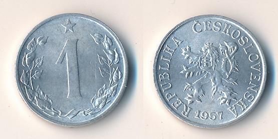 Československo 1 haléř 1957