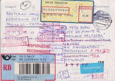 Celistvosti ČR - mezinárodní listovní provoz - velmi zajímavé