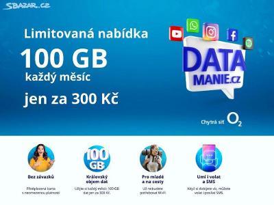 Limitovaná SIM O2 100GB dat/300Kč