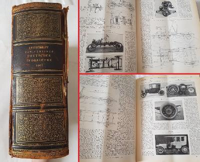 Tech. časopisy 1907 železnice parní stroj auto veterán elektromobil aj