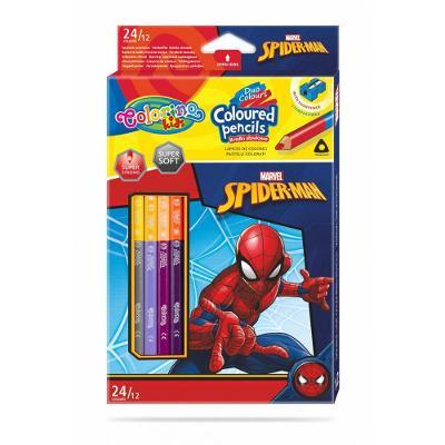 Colorino pastelky Spiderman Duo Trio 24 barev + ořezávátko