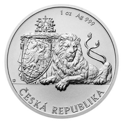 Stříbrná uncová investiční mince Český lev 2019 stand