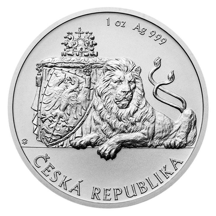 Stříbrná uncová investiční mince Český lev 2019 stand - Numismatika