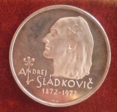 Stříbrná mince 20 Kčs PROOF Andrej Sládkovič 50. výročí úmrtí 1972