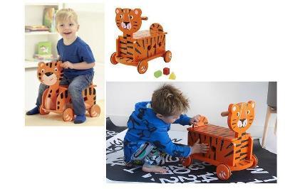 Dřevěné odrážedlo/vozítko Tygr, vozík, vkládačka