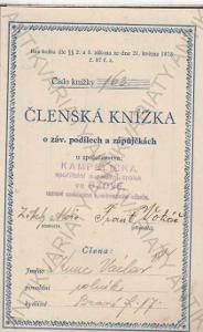 Členská knížka Václav Kunc KAMPELIČKA Bzová