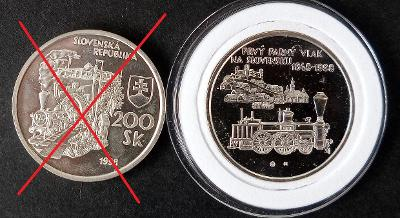 200 SK 1998 Proof Prvý parný vlak na Slovensku