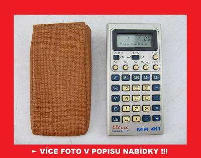 TESLA MR 411 - sbírková kalkulačka + hodiny / ČSSR