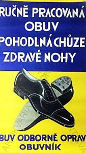 Ručně pracovaná obuv reklamní plakát cca 1920-1930