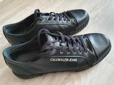 Černé stylové kožené boty Calvin Klein vel. 44
