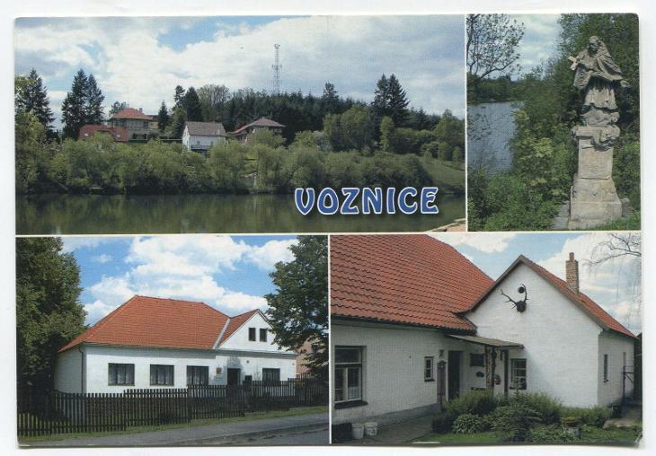VOZNICE, o. Příbram-část obce nad rybníkem KOMORA, socha Jan Nepomucký - Pohlednice