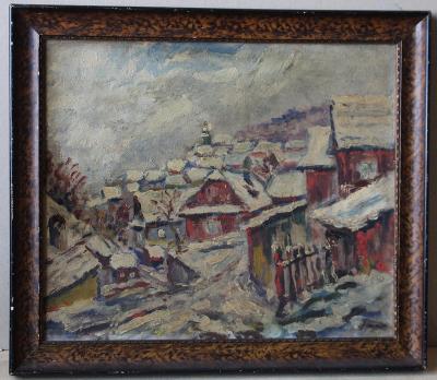 Zasněžená vesnice - sign - Olej