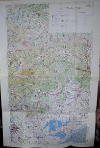 Nástěnná automapa Československa z roku 1984, 3 listy cca 80 x 120 cm