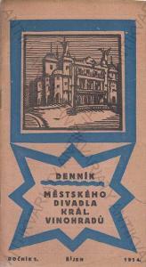 Denník Městského divadla Král. Vinohradů 1914