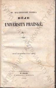 Děje university pražské W. Wladivoj Tomek 1849