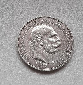 Stříbrná 5 koruna 1907 KB FJI - korunovační - Rakousko-Uhersko