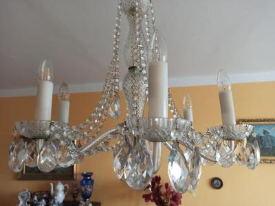 Lustr křišťálový, šestiramenný, se skleněnými rameny - Bohemia crystal