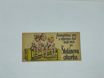 Účtenka reklama A. Štefan cikorka cikorie káva kafé Vrdy Bučice Čáslav