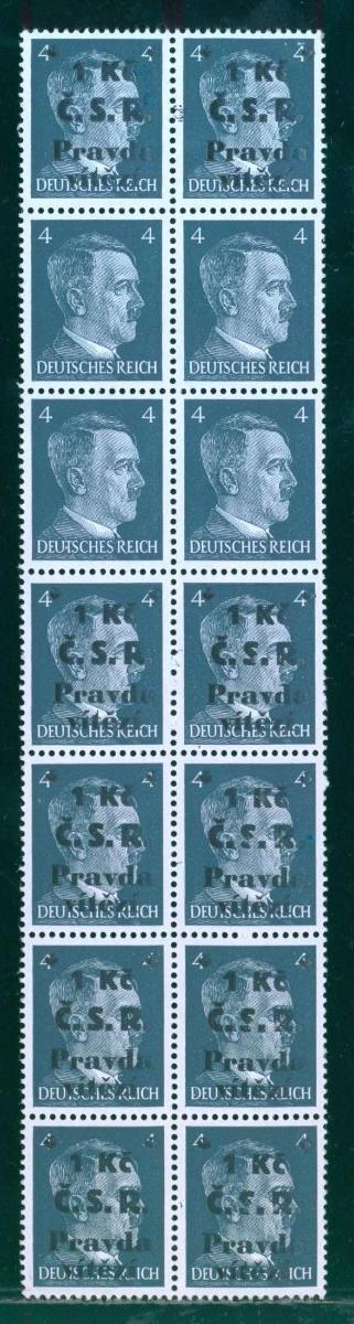 10B927 14-ti blok chebský revoluční přetisk 1945 s chybotiskem, rarita