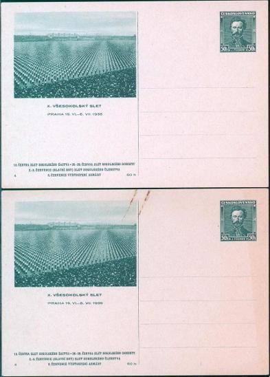 10B981 Celina X. všesokolský slet Praha 1938, 2ks