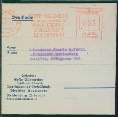 14B487 BOHMEN- MAHREN / Platební poukázka, LIBEREC- strojové razítko