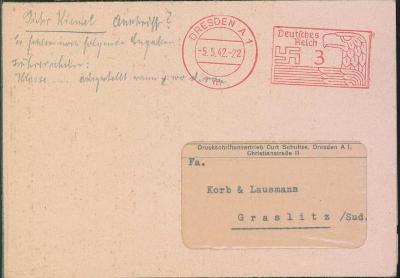 14B488 Mimořádný dopis-Dresden/ Kraslice RR!!- strojové razítko