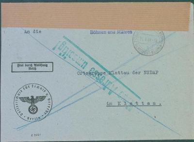 12B64 2x poslaný dopis NSDAP Klatovy–Sušice, raz. Deutsche Dienstpost