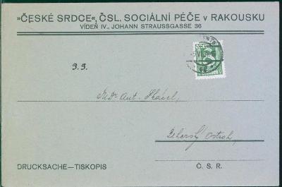10B1192 Tiskopis ,,ČESKÉ SRDCE ,, ČSL. SOCIÁLNÍ PÉČE V RAKOUSKU, Vídeň