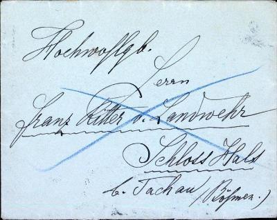 13B1049 Šlechtické psaní zámek Halže, Tachov, Franz rytíř z  Landwehr