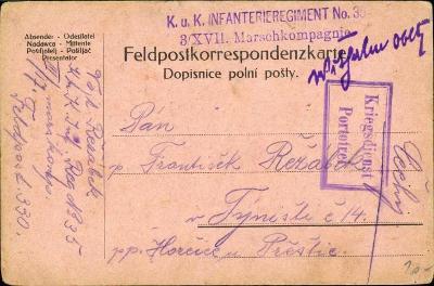10C351 Polní pošta-František Řežábek, Týniště, Hořice - Přeštice