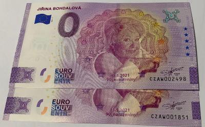 0 Euro Souvenir bankovka JIŘINA BOHDALOVÁ