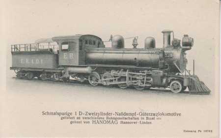 Úzkorozchodná dvouválcová parní lokomotiva- náklad