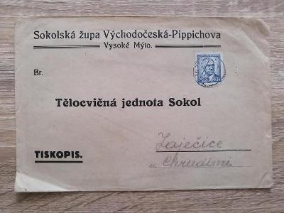 obálka 19x13 cm - Sokolská župa V.Č.- Pippichova - TJ Sokol - rok 1943