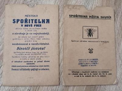 papírový sáček SPOŘITELNA MĚSTA SKUTČE  MĚSTSKÁ SPOŘITELNA V NOVÉ PACE