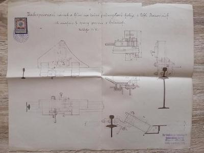 projekt s kolkem - Zabezpečovací zámek a klín na točné koleje rok 1915