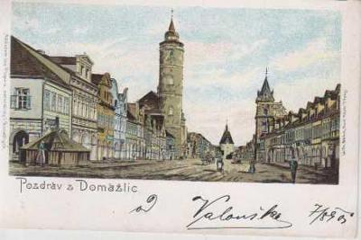 Domažlice, náměstí, kolorovaná, litografie, DA