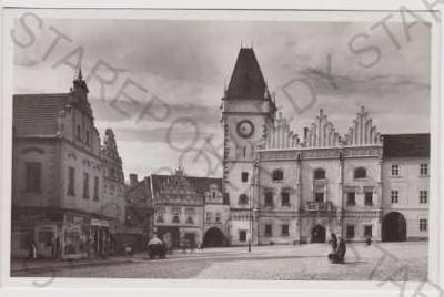 Tábor - část náměstí, obchod, kůň povoz, radnice