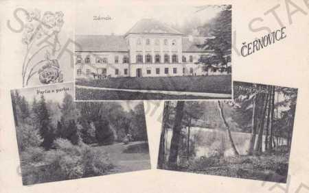 Černovice u Tábora, více záběrů, zámek, koláž