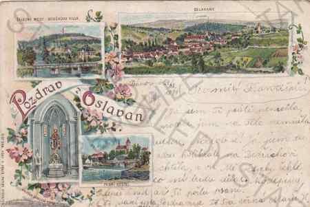 Oslavay - Železný most - Součkova villa, Farní kos - Pohlednice