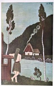 Lesní víla - Josef Lada 1945, dobový vícebar. ofset 20x14cm