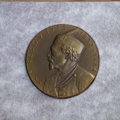 Sokol ČSR těžká medaile- Dr.Tyrš 1852-1884 60mm v originální etui R!
