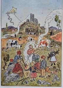 Podzim - Josef Lada 1945, dob.víceb. ofset 20x14cm